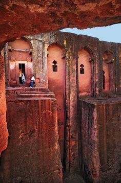 """africandiversity: """"Lalibela, Ethiopia's rock-hewn Bet Gabriel-Rufael church. Lalibela is a town in northern Ethiopia that is famous for its monolithic rock-cut churches. Lalibela is one of Ethiopia's. Places To Travel, Places To See, Travel Destinations, Places Around The World, Around The Worlds, Addis Abeba, Magic Places, Place Of Worship, Travel Memories"""