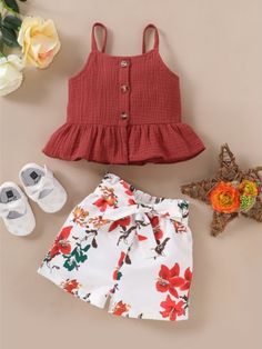 Toddler Girl Ruffle Muslin Suspender Top and Flower Shorts Set Cute Little Girls Outfits, Kids Outfits Girls, Little Girl Fashion, Toddler Girl Outfits, Toddler Girls Clothes, Toddler Fashion, Kids Frocks Design, Baby Frocks Designs, Kids Dressy Clothes