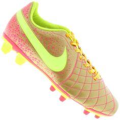 Chuteira Nike Flare 2 FG Campo Masculina Amarela Limão / Rosa / Laranja