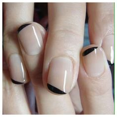easy nail art for short nails, nude base color & black soft lines
