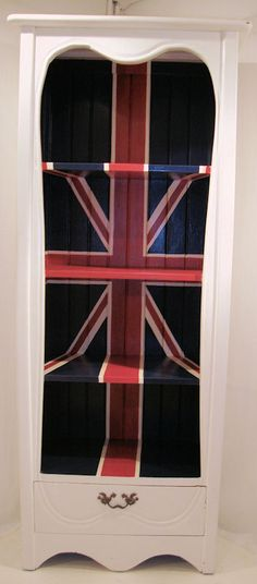 Union Jack Bookcase - eclectic - bookcases cabinets and computer armoires - Forever Interiors Shabby Chic Bookcase, Shabby Chic Wardrobe, Shabby Chic Living Room, Shabby Chic Kitchen, Shabby Chic Interiors, Shabby Chic Homes, Shabby Chic Furniture, Shabby Chic Decor, Painted Furniture