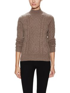525 America Women's Blake Heritage Cable Turtleneck Sweater (Tusk ...