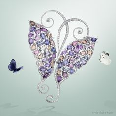 Van Cleef & Arpels' Mains d'Or™ breathe life into nature-inspired creations such as this High Jewelry Mélyté Butterfly clip - white gold, round diamonds, one prince-cut diamond of 1.03 carats, 57 multicolored sapphires for 83.51 carats #VCAspring