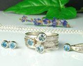 Swiss Blue topaz ring ,Swiss Blue topaz Earrings ,Swiss Blue topaz Necklace, sterling silver 925