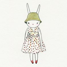 Fifi in the red and black spot prairie dress and flowerpot hat