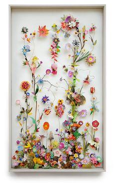 Flower Constuction by Anne Ten Donkelaar 3d Collage, Flower Collage, Arte Floral, Deco Floral, Floral Design, Resin Crafts, Resin Art, Ice Resin, Dried Flowers
