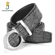 FAJARINA All-match Personality Casual Male Crocodile Cowskin Belt Genuine Leather Smooth Buckle Waist Belts Gift for Men LUFJ536