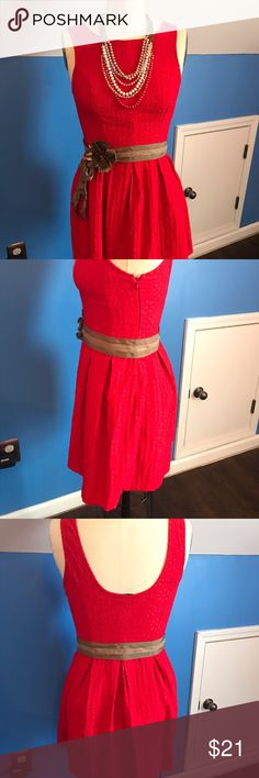 Textured Flower-print Bright Red Cocktail Dress Great date night dress! Princess seam bodice with box pleated skirt. The perfect fit and flare! Scooped back with side zipper closure. Fire engine red! 💋 Fits like size 8. MADE IN USA! Necklace NOT FOR SALE. Belt can be included with good offer. Blue Rain Dresses Midi