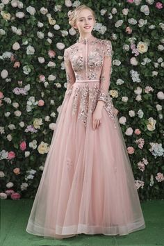 Full Sleeves Pink Long High Neck Tulle Lace Applique Pearl Backless Evening Prom Dress | Uniqistic.com