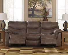 Ashley Furniture Alzena Reclining Sofa 7140088 with Pull tab reclining motion,Corner-blocked frame with metal reinforced seat,Tight back and seat cushions,High-resiliency foam cushions wrapped in thick poly fiber Ashley Sofa, Leather Upholstery Fabric, Power Reclining Loveseat, Nebraska Furniture Mart, Leather Pieces, At Home Store, Signature Design, Seat Cushions, Recliner