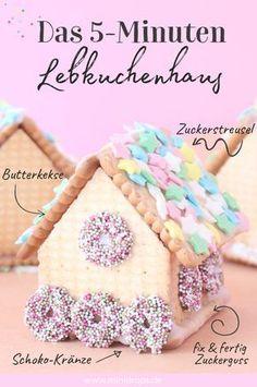 Lebkuchenhaus in 5 Minuten? Ja, das geht! Ganz fix und easy mit Butterkeksen. Viele weitere süße Ideen zur Weihnachtszeit findest du auf dem Minidrops Blog >>> #weihnachten #lebkuchenhaus #minidrops