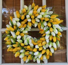 The Wreath Depot Yellow and White Tulip Summer Door Wreath 19 Inch, Beautiful White Storage Gift Box, Spring Front Door Wreaths, Diy Spring Wreath, Diy Wreath, White Tulips, Tulips Flowers, Silk Flowers, Bead Bowl, Tulip Wreath, Floral Wreaths
