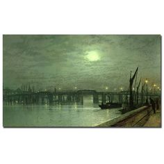 John Grimshaw 'Battersea Bridge by Moonlight' Canvas Art | Overstock.com