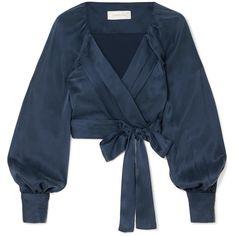 Zimmermann Washed-silk Wrap Top In Navy Navy Crop Top, Tie Crop Top, Blue Crop Tops, Long Sleeve Crop Top, Tie Blouse, Crop Blouse, Long Blouse, Navy Blouse, Wrap Tie Top