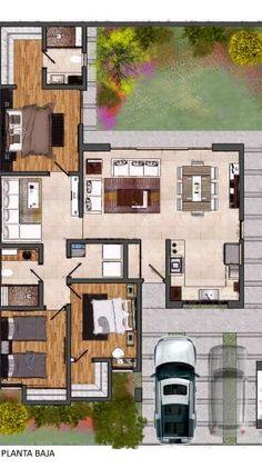 40x60 House Plans, 3d House Plans, House Layout Plans, House Plans One Story, Dream House Plans, Modern House Plans, House Layouts, Sweet Home Design, Simple House Design