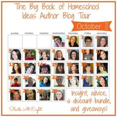 The Big Book of Homeschool Ideas Blog Tour starts Oct. 1st and includes great posts from some of the authors, a discounted bundle and many giveaways!