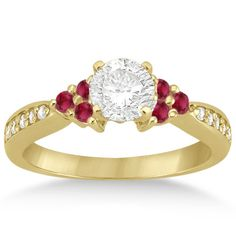 0.30ct Genuine Floral Ruby & Diamond Engagement Ring by Allurez