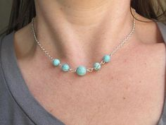 Howlite Beaded Layering Choker Necklace https://www.etsy.com/listing/545360241/howlite-beaded-layering-necklace