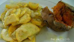 squash, onions and sweet potato