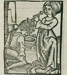 Woodcut showing a man being de-loused; three lice can be seen around the bowl. Illustration from Hortus Sanitatis (Garden of Health), printed by Johann Pruss in Strasbourg in 1497. (Photo by SSPL/Getty Images)