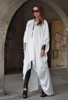 XXLXXXL Maxi Dress / Extravagant Long Dress / White/ by EUGfashion