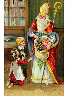 The Hierophant from the Christmas Tarot deck by Corrine Kenner. Victorian Christmas, Vintage Christmas Cards, Christmas Images, Vintage Cards, Vintage Postcards, Santas Vintage, Vintage Santa Claus, Merry Christmas Santa, Father Christmas