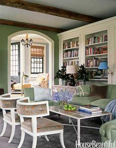 Low back klismos chairs in a 19th c American farmhouse study (slide 37) | Jeffrey Bilhuber | House Beautiful...