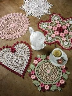 Irish Crochet Doilies Patterns Flower Doily Book Floral Beauty Heart Rose Square | eBay