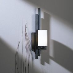 Hubbardton Forge Ondrian 1 Light Wall Sconce Finish: Brushed Steel, Shade Color: Stone, Bulb Type: 1 x Fluorescent