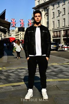 Men's street style | Sports Minimal - Get this minimal look with white trainers and tee, and black joggers and leather racer jacket. | Shop the look at The Idle Man