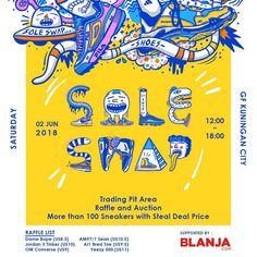 SOLESWAP 2018 adalah sebuah event dimana para sneakerhead maupun influencer akan menjual barang-barang mereka dengan harga steal deal atau miring dan bisa juga trade dalam satu tempat.