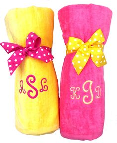 Monogrammed Beach Towels with cute presentation.
