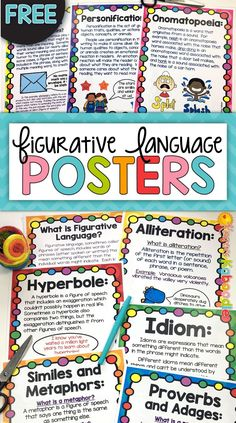 """FREE Figurative Language Poster Set for figures of speech lessons and activities! This easy to use, FREE poster set includes alliteration, hyperboles, idioms, proverbs and adages, personification, onomatopoeia, similes and metaphors, and puns. Each poster includes a brief description of the figure of speech for students. You can also check out the """"sister"""" figurative language product that is common core aligned and includes instructional pages as well as task cards and printables."""
