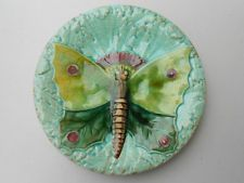 """Old Antique Majolica Plate w Large Butterfly Hornberg Germany ? 6 1/2"""""""