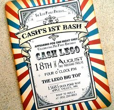 Printable Circus Party Invitation Retro Vintage Inspired