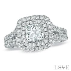 Vera Wang LOVE Collection 2-1/4 CT. T.W. Princess-Cut Diamond Frame Split Shank Engagement Ring in 14K White Gold