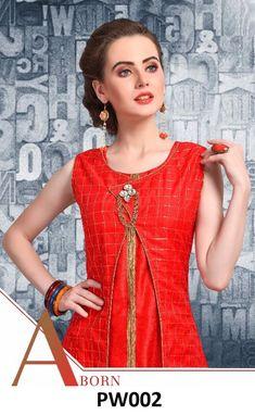 Red Two Piece Sleeveless Kurti - Designer Two Piece Sleeveless Kurti with Pure Silk Jacket Red color   Contact No/WhatsApp No »  80853-95917  #Redkurti  #TwoPieceSleevelessKurti #sleevelesskurti #fashionkurtis #kurti