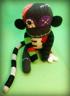 Zombie Sock Monkey Monster - Frankenstein/Halloween Handmade Plush/Toy/Doll