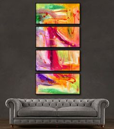 "'Colorful Thoughts II'  - 48"" X 24"" Original Paintings . Free shipping within USA & 30 day return policy. - Lulus Gallery - 2"