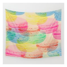 Macaroon Madness Wall Tapestry (56 NZD) ❤ liked on Polyvore featuring home, home decor, wall art, wall tapestries, outside wall art, tapestry wall art, outdoor wall art, mounted wall art and outside home decor