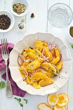 Italian Orange Salad with Red Onions, Drizzle of Organic Honey and Nuts. #thecopperolive