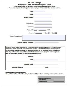 Employee Advance Form Sample