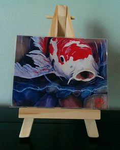 Item for sale is a mini print of my original painting Hungry Koi. The print measures 2.5x3.5 and comes with a 5easel, perfect for display in a small area.