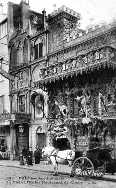 """The awesomely insane Heaven and Hell nightclubs of Paris Cabaret de l'Enfer (""""The Cabaret of the Inferno"""") and Cabaret du Ciel (""""The Cabaret of the Sky""""), Boulevard de Clichy, Montmartre Paris. Old Paris, Vintage Paris, Paris 1920s, Paris Paris, Cabaret, Belle Epoque, Old Pictures, Old Photos, Creepy Pictures"""