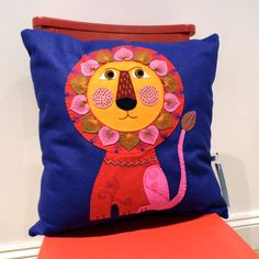 Unique hand embroidered felt LION cushion by designedbyjane, £55.00