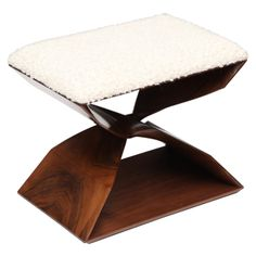 Hand Carved Walnut Stool by Carol Egan | From a unique collection of antique and modern ottomans and poufs at http://www.1stdibs.com/furniture/seating/ottomans-poufs/