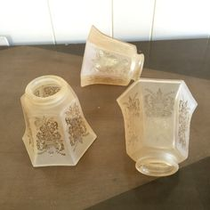 Art Deco Etched Peach Glass Lamp Shades Vintage Set of 3