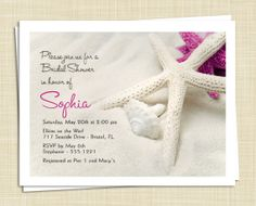 20 Bridal Shower Invitations - Beach, Starfish, Island, Tropical - you choose colors. $15.00, via Etsy.