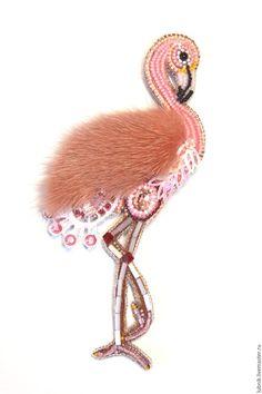 """Купить Брошь """"Розовый фламинго"""" - розовый, фламинго, птица, брошь, брошь ручной работы"""