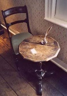 Jane Austen's writing table ( for real), see how we tried to duplicate her wallpaper